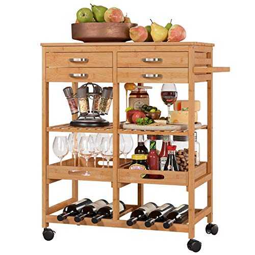 Homfa Bamboo Kitchen Serving Trolley Cart Storage Trolley on Wheels Handle with 4 Cutlery Drawers 2 Removable Serving Trays 6 Bottle Wine Rack 66x36x81cm