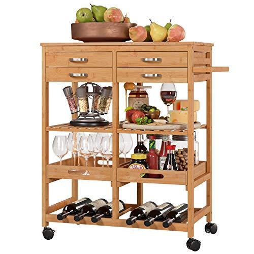 Homfa Carro Cocina Auxiliar Carrito de Servicio Bambú Estantería Almacenaje Frutas Verduras para Cocina Salón con 4 Ruedas 4 Cajones 2 Bandejas 66x36x81cm