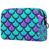 Bolsa de maquillaje grande con cremallera, bolsa cosmética de viaje, bolsa cosmética para mujeres y niñas Escalas coloridas de sirena