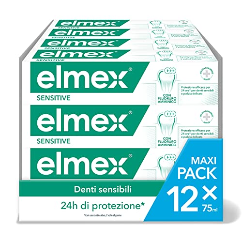 ELMEX Dentifricio Sensitive per Denti Sensibili, Solievo Immediato e Duraturo dalla Sensibilità Dentale, con Fluoruro Amminico, 12x75ml