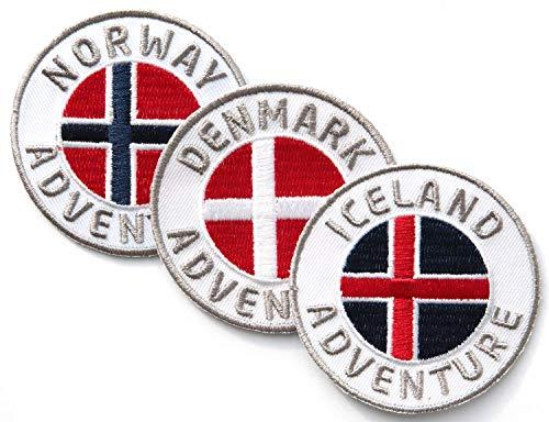 3er-set Abzeichen gestickt 60 mm / Skandinavien Set Island Dänemark Norwegen Abenteuer / Outdoor Wandern Flagge Wappen Kreuz / Aufnäher Aufbügler Sticker Patch / Reiseführer Wanderführer Buch Karte