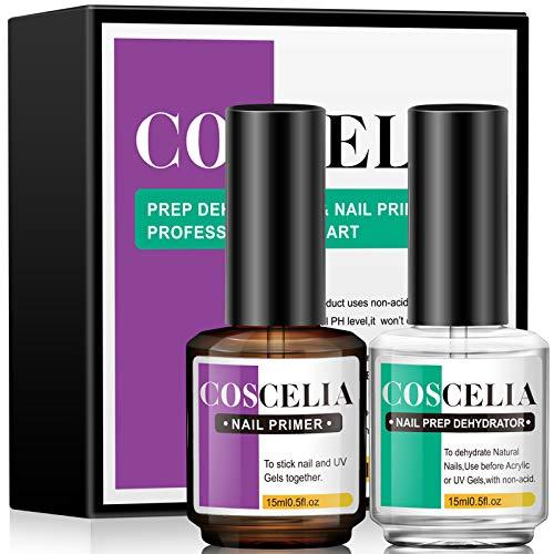 COSCELIA Nail Prep Dehydrator & Nail Primer, 2PCS * 15 ml Professional Nail Prep Primer Schnelle Lufttrocknung für Gel Nagellack und Acrylpulver, Primer für Gelnägel