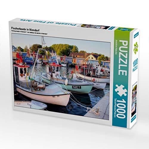 CALVENDO Puzzle Fischerboote in Niendorf 1000 Teile Lege-Größe 64 x 48 cm Foto-Puzzle Bild von Joachim Hasche