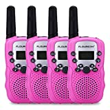 floureon Walkies Talkies for Kid Toy Walkies Talky 22 Channel Two Way Radios Long Range (Pink 4 Pack)