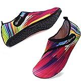 VIFUUR Sport Nautique Chaussures Femmes Hommes Réglable Mesh en Plein Air Pieds Nus Aqua Yoga Chaussettes pour La Plage en Plein Air Surf Rouge coloré EU40/41