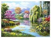ダイヤモンド絵画 ラインストーン絵画の風景の完全なラインストーン刺繍風景モザイクラインストーンの家の装飾写真 (Color : 8300, Size : 30x40cm Round Drill)