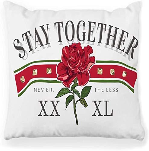 Funda de almohada decorativa Cuadrada 18x18 Tipografía Lema Flor de rosa roja Arte Gráfico de moda Chica Imprimir Retro Rock T Cool Wild Decoración para el hogar Funda de almohada con cremallera