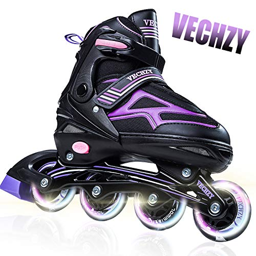 VECHZY Comfortable Adjustable Inline Skates with Light up Wheels, Beginner Illuminating Roller Skates for Kids, Women and Men