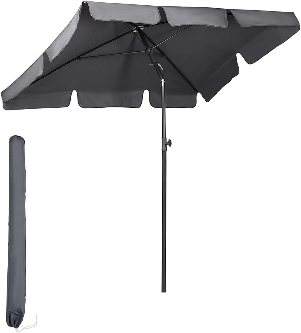 Sekey® Sombrilla 200 x 125cm Parasole para Terraza Jardín Playa Balcón Piscina Patio ,Protector Solar UV50+ , color Gris , Rectángulo