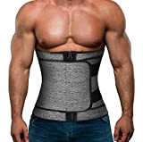 Hidyliu Mens Workout Waist Trainer Neoprene Corset Sauna Sweat Trimmer Cincher Slimming Belly with 3 Belts for Weight Loss (Gery Waist Trainer with Zipper, L)