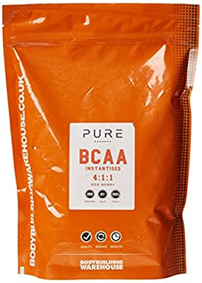 Bodybuilding Warehouse Pure iBCAA 4:1:1 (Instantised Branch Chain Amino Acid) Powder (Red Berry, 1kg)