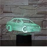 3D LED Nachtlicht Limousine 3D Tischlampe Auto Windlicht 3 AA Batterie USB Kabel inklusive Power Geschenk an Freunde