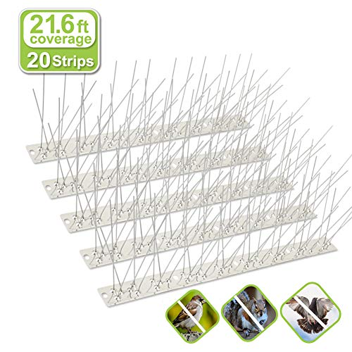 Valibe Bird Spikes for Small Birds Pigeons 21.6 Feet Coverage Stainless Steel Bird Spikes Kit Metal Bird Deterrent Spikes with Uninstalled Pins