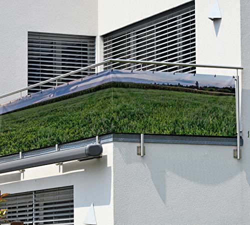 MyMaxxi Balkon Sichtschutz | Field 02 3 x 0,9m | Abdeckung für Terasse Balkon | Windschutz Sonnenschutz Blickdicht | Balkonverkleidung wetterfest Sichtschutz Zaun | Verkleidung