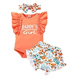 Newborn Baby Girl Clothes Infant Letter Print Romper Onesie Floral Pants with Headband Baby Girl Outfit Set(0-3 Months,Daddy's Girl Orange)