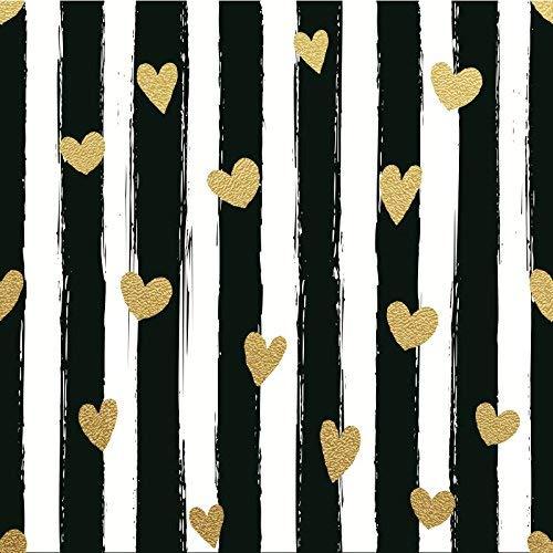 EdCott Sfondo bianco e nero a strisce con sfondo di cuori Sfondo 8x8ft a strisce oro Cuori sfondo Festa di compleanno Banner Decorazione Bambini Studio Prop