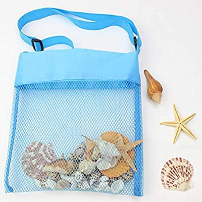 Adjustable Mesh Beach Bags Portable Cute Lightweight Foldable Sea Shell Bag/Toy Storage Bag for Kids