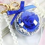SXJC Flores para Siempre, Flor Rosa, Flor Preservada con Llavero Colgante Regalo del Día De La Madre, 5cm De Diámetro,Royalblue