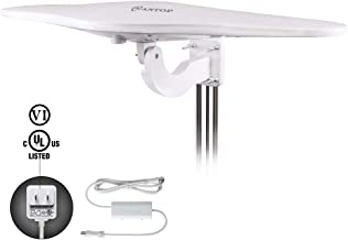 ANTOP WING Omni-Directional Outdoor HDTV Antenna with Smartpass Amplifier &Noise-Free 4G Filter and UHF/VHF Enhanced for 70 Miles Reception,Fit for Outdoor/RV/Attic Use(33ft Coaxial Cable) AT-417B