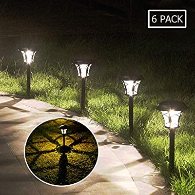 Solar Garden Lights Outdoor Path Lights Waterproof 20 Lumen Solar Black LED Pathway Light,Large Sun Powered Wireless Landscape Lighting for Lawn,Patio,Yard and Driveway 6 Pack -Glass & Stainless