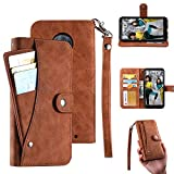 Moto G7 Wallet Case, Moto G7 Plus Case, PU Flip Leather [6 Cards Slot ] Removable Card Holder Phone Cases, ID Credit Card Cash Pocket Cover with Wrist Strap for Moto G7 / Moto G7 Plus 6.2'(Brown)
