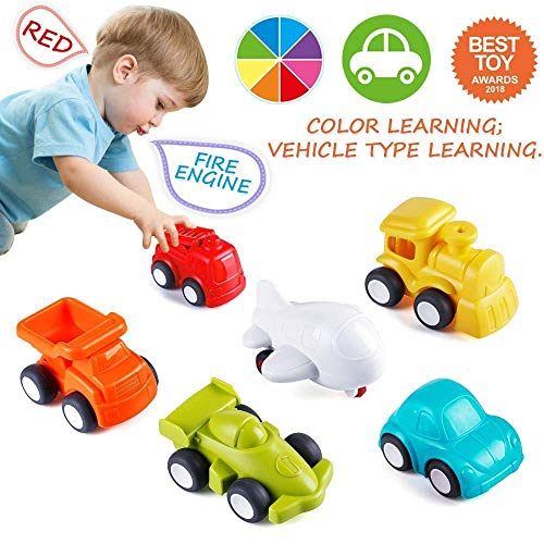 VATOS Toddler Car Toys, 6 Pack Toy Cars for 18 Months Boys with Free Wheel City Traffic Little Cars,Toy Cars for Toddlers Early Educational Toddler Toys