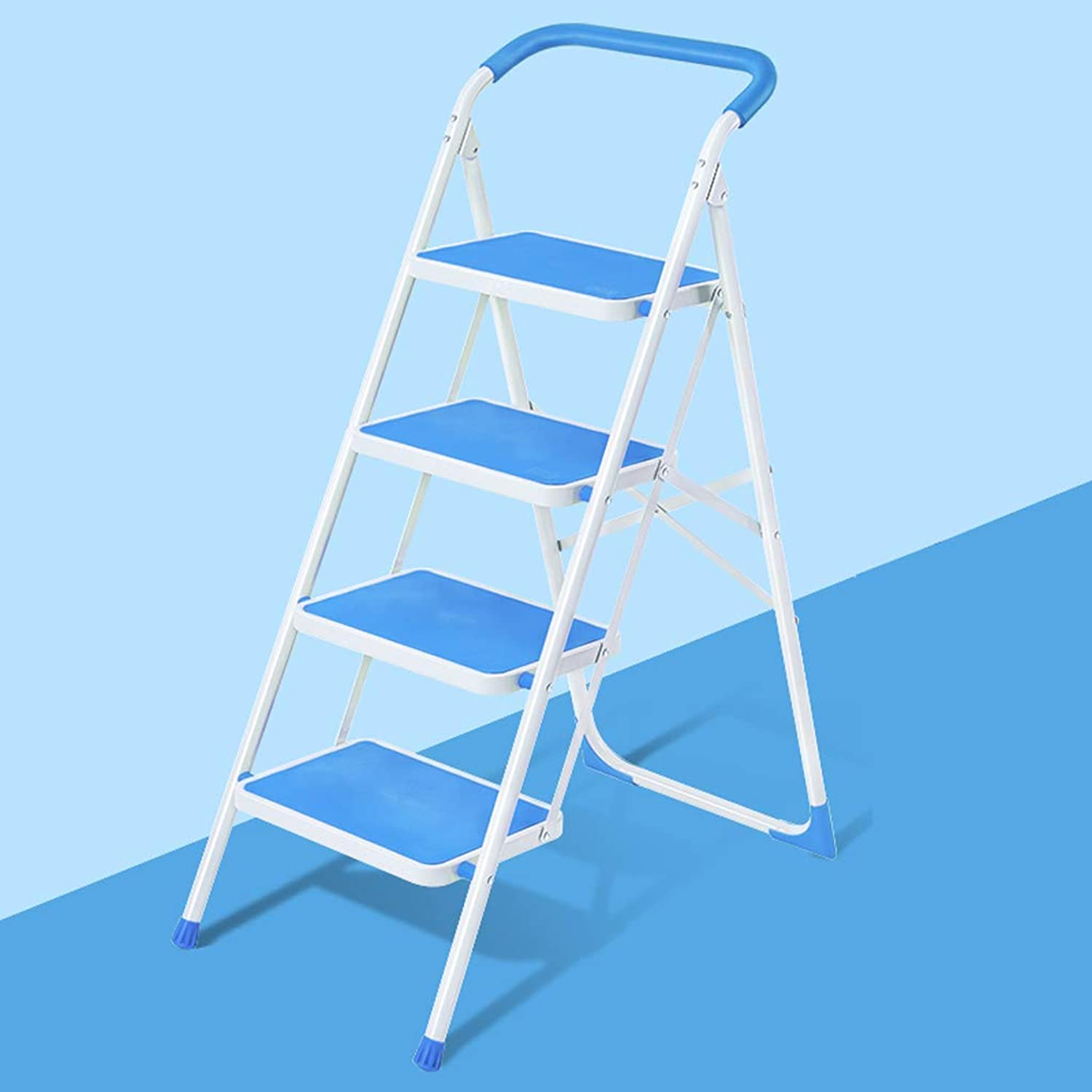 GLJJQMY Staircase Staircase Four-Story Folding Stool Stair Chair Suitable for Kitchen Bedroom Indoor Multi-Function Household Shrinking Ladder 49x84x126CM (color   bluee)
