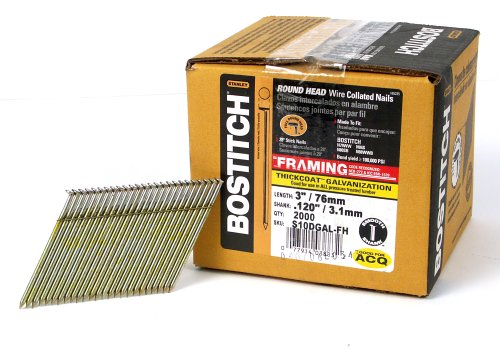 BOSTITCH Framing Nails, 28 Degree, Wire Weld, Galvanized, 3-Inch x .120-Inch, 2000-Pack (S10DGAL-FH)