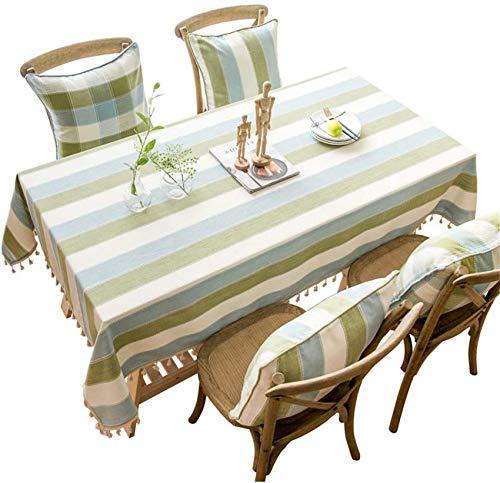 xcxc Mantel a Rayas de Borla de algodón y Lino Mantel Impermeable Fresco y Simple Adecuado para jardín, Sala de Estar, Mantel de Hotel Rectangular