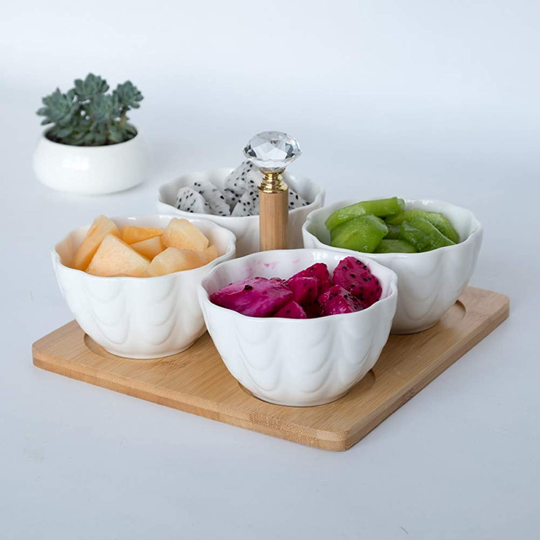LRWABVC 4pc   Ensemble avec Plateau Fourchette Creative Bol à Fruits en céramique Bol à Salade Partition Salade de Fruits Assiette de collations Assiette de Fruits secs