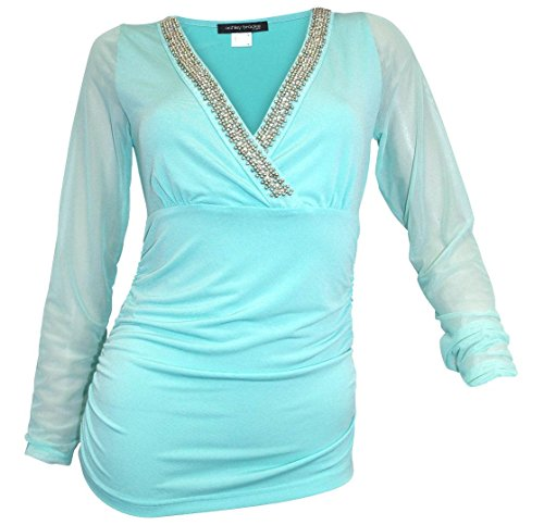 Ashley Brooke Aqua - Camiseta para mujer azul turquesa 42