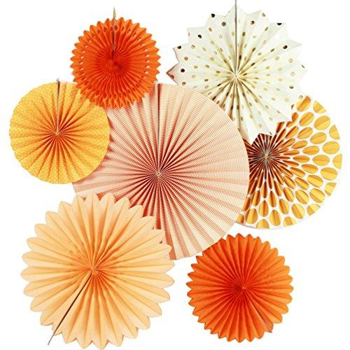 SUNBEAUTY 7er Set Orange Dekoration Papier Rosetten Deko Fächer Peach Deko-Serie