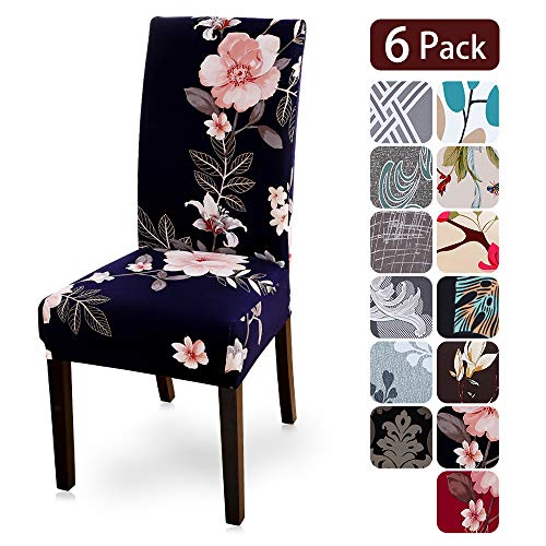 Dining Room Chair Covers Slipcovers Set of 6, Spandex Fabric Fit Stretch Removable Washable Kitchen Chair Covers Protector for Dining Room, Hotel, Ceremony (flower4, 6 per Set)
