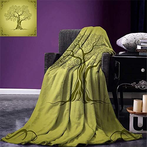 ZHWM Decken Olive Green Throw Blanket Mediterrane Olive Tree Silhouette mit Ornamental Frame Nature Inspirations Warme Mikrofaserdecke@125x200cm