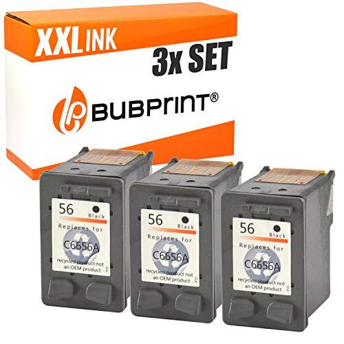 3 Bubprint Druckerpatronen kompatibel für HP 56 für DeskJet 5150 5550 5600 5650 5652 OfficeJet 5510 5605Z 5610 5615 PhotoSmart 7760 PSC 1110 1210 1215 1315 1315S 1350 Schwarz