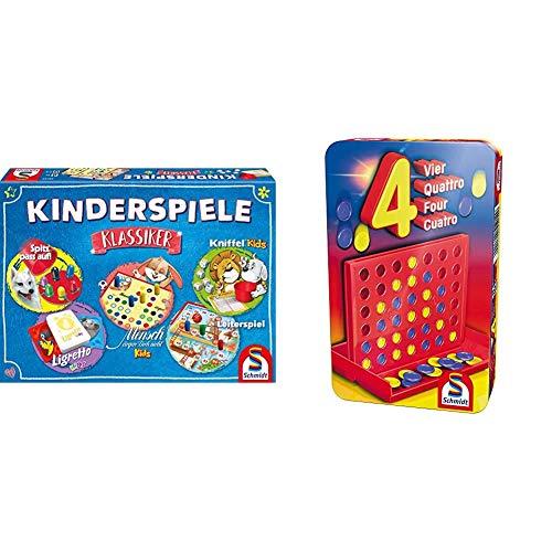 Schmidt Spiele 49189 Kinderspiele Klassiker, Kinderspielesammlung, bunt & 51214 BMM Vier, Bring Mich mit Spiel in der Metalldose, bunt