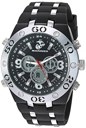 U.S. Military Men's Analog-Digital Chronograph Silver-Tone and Black Silicone Strap Watch by Wrist Armor
