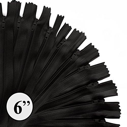 KGS Nylon Fermeture éclair   6 Pouces / 15 cm   100 pcs/Pack (Noir)