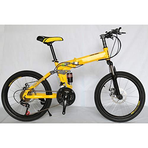 "CEALEONE Bike-to-Go Folding Fahrrad - 20\"" Rad, hinten Hydraulic Shock Aufhängung, Faltbare Pedale, Aluminium-Legierung Fahrrad-Rahmen,Gelb,27speed"