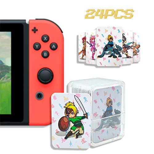 Cartes de jeu NFC Tag compatibles Switch/Wii U/3DS XL avec porte-cartes 01 The Legend of Zelda 24 pièces.