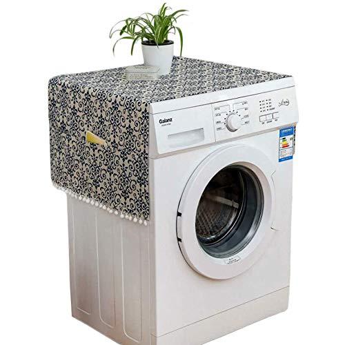 JANKE Rutschfeste Abdeckung für Waschmaschine und Trockner, Kühlschrank-Staubschutz, Waschmaschinen-Abdeckung, Frontlader, mit 6 Aufbewahrungstaschen (C)