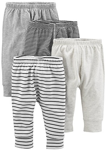 Simple Joys by Carter's Baby paquete de 4 pantalones ,Gray/Gray Stripe ,6-9 Meses