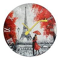 パリの油絵 読みやすい非カチカチ音を立てないサイレントレコード木製の壁時計ホームオフィスの装飾