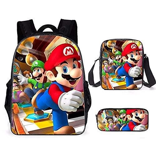 Super Mario mochila para niños 3 piezas Mario School Bags Set para niños niñas mochila ligera para niños (mochila+bolsa de mensajera+estuche para lápiz), M6., Large,