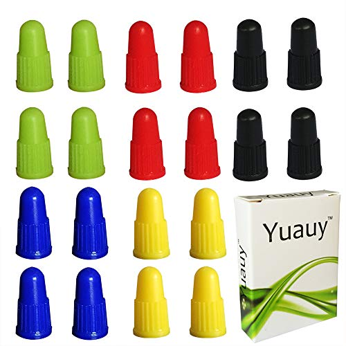 Yuauy Ventilkappen für Mountainbike, Presta, Fahrrad, Rennrad, Kunststoff, 4 Stück x 5 Farben (insgesamt 20 Stück)