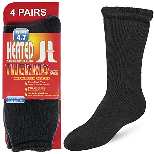 4 Pack Thermal Socks For Men and Women Insulated Winter Socks for Extreme Cold Weathers Debra Weitzner Black Size 10-13