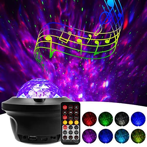 LED Sternenhimmel Projektor Licht - 360¡ã Rotierender Ozeanwellen Galaxy Projector mit Bluetooth-Lautsprecher, Tonsensor und Zeitmesser, Geeignet f¡§1r Schlafzimmerpartys (Blau)