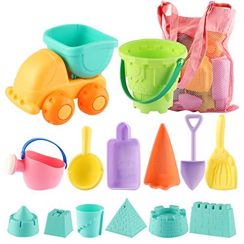✔ Juego de juguetes de playa de 14 piezas: los juguetes de playa incluyen un lindo auto, barriles de castillo, caldera, cuchara, pala triangular, pala de cangrejo y 2 moldes para helados, moldes para castillos de arena de 6 piezas. Los juegos de jugu...