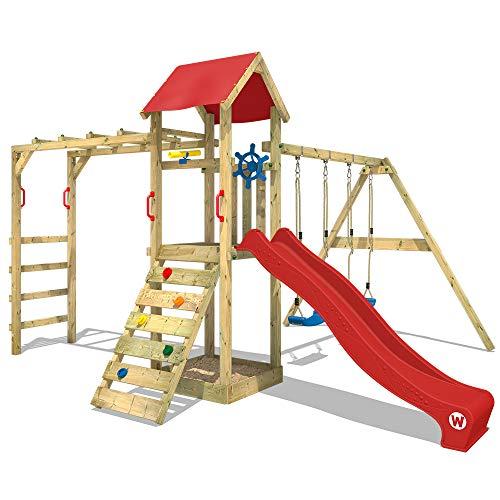 WICKEY Spielturm Kletterturm Klettergerüst mit Doppelschaukel und Rutsche \'Smart Bridge\' - rote Rutsche, rote Plane