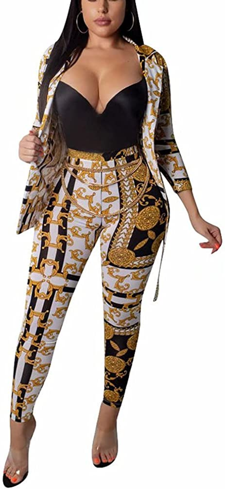 Women Casual Two Piece Outfits Long Sleeve Chain Print Blazer Shorts Set Workout Party Night Tracksuit